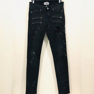 PAIGE Distressed Black Zippered Jeans